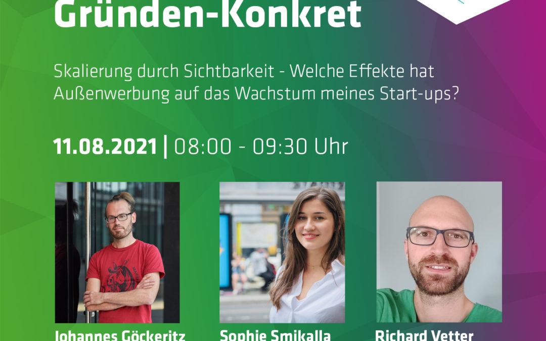 """SMILE beim futureSAX Event """"Gründen-Konkret"""" zum Thema """"Skalierung durch Sichtbarkeit – Welche Effekte hat Außenwerbung auf das Wachstum meines Start-ups?"""" am 11.08."""